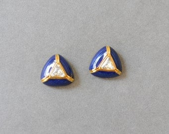 Vintage triangle stud earrings 90s gold blue fashion 80s 90s jewelry costume gold
