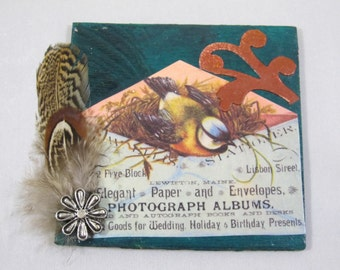 Miniature Wood Magnet, Vintage Bird Image,  Bird Feathers, Metal Flower, Teal Metallic Paint