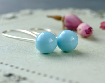 Turquoise Glass Earrings, Blue Teardrop Earrings, Turquoise Drop Earring, Silver Turquoise Earring, Turquoise Bridesmaid Glass Bead Earrings