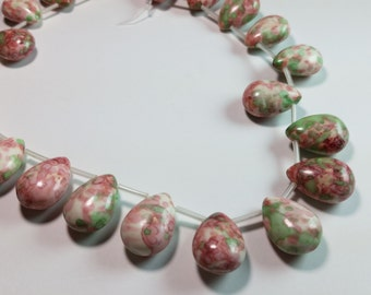 Green and Red Splattered White Turquoise Briolette Beads 17mm x 13mm