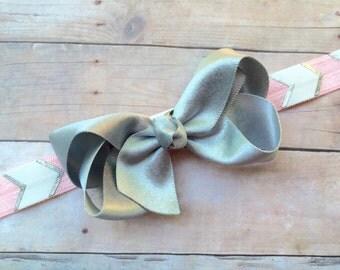Silver & pink headband - silver baby headband, silver boutique bow headband, silver headband