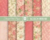 Floral Digital Paper, Coral Digital Paper Pack, Vintage Scrapbook Paper, Roses Scrapbook Paper Pack  - INSTANT DOWNLOAD  - 1967