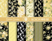 Gold and Black Digital Paper, Floral Gold and Black Digital Paper Pack, Floral Digital Scrapbooking Pack - INSTANT DOWNLOAD - 1972