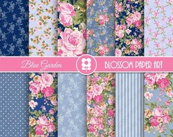 Blue Floral Digital Paper, Blue Digital Paper Pack, Floral Digital Scrapbooking Pack - INSTANT DOWNLOAD - 1971
