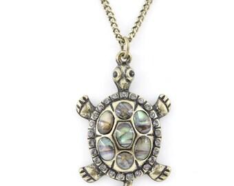 Pretty Gold-tone Purple/White Crystal Turtle Pendant Necklace,Q2