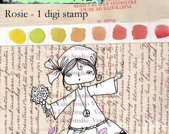 Rosie - free spirited little hippie girl digi stamp