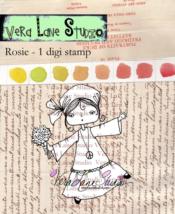 Rosie - free spirited little hippie girl digi stamp