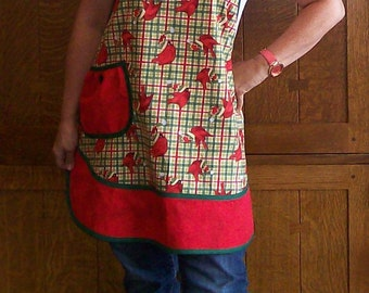 Retro Holiday Apron Red and Green Cardinals Size Small