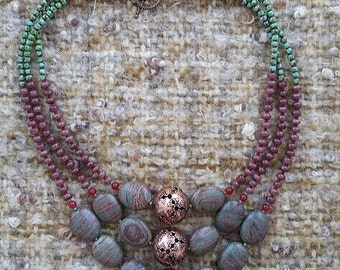 Copper and natural stones beaded necklace