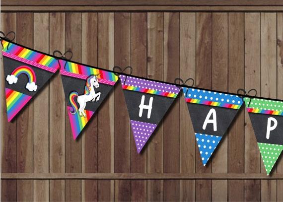 Unicorn Birthday Banner: Unicorn Birthday Banner Rainbow Party Pennant Banner Rainbow