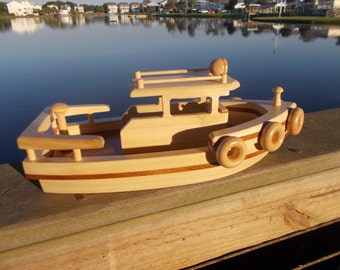 wooden tugboat free shipping on 2nd item