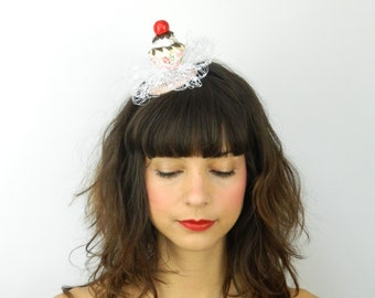 Fascinator Headpiece with Vintage Shabby Chic Cherry Cupcake and Veil - Birthday Party Hat