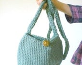 Crochet Purse with Long Strap and Vintage Button - Sage Green with World War II Gold Button - Small Clutch Style with Shoulder Strap