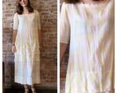 20s Cotton Dress - Sheer - Plaid - Summer Day Dress -  Organza Trim - Tier Ruffles