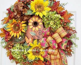 Wreath~Fall~Birdhouse~Bird nest~Hydrangeas~Hummingbird~Door Decoration
