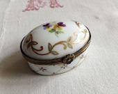Meissen Germany Hand Painted Porcelain Trinket Box ~ Gold Gilt ~ Collectable ~ Hallmarked ~ Purple Viola Floral
