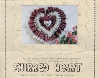 "Shirred Heart Door Wreath Pattern and Instructions - Ruffled Heart Door or Wall Hanging - 18"" Heart Shaped Door Wreath Pattern"