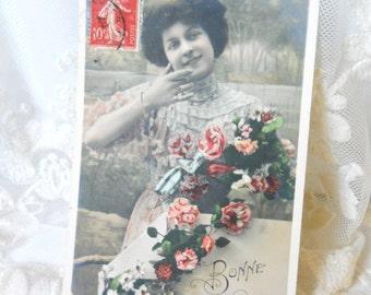 Antique French postcard vintage beauty photograph postcard hand tinted postcard french vintage beauty romantic
