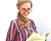 1970s Polo Librarian Eyeglasses Vintage Oversized Tortoise Shell Frames - Retro Hipster Geek Chic Glasses Collegiate Style Designer Eyewear