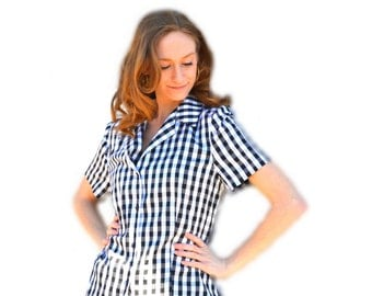 Retro Carlisle Gingham Blouse Vintage 1980s Does 1950s 100% Silk Rockabilly Housewife Black & White Checkered Collar Button Up Oxford Shirt