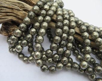 Back in stock!! Shimmering Silver Bronze Metallic 6mm DRUK BEADS  ( 25 beads full strand ) Premium Czech Beads low combined shipping!