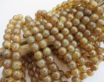 Back in Stock!!!   Champagne 6mm DRUK beads with shimmering Picasso finish (25 beads full strand )