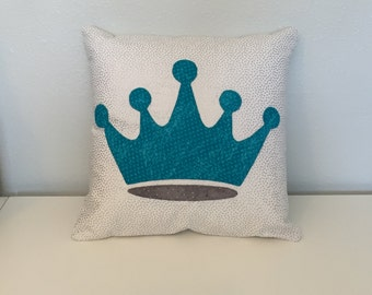 """Zeta Tau Alpha Turquoise and Grey Five Pointed Crown Accent Pillow Cushion with White and Silver Background Includes 12""""x12"""" Pillow Insert"""