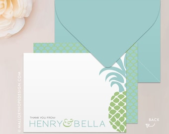 Tropical Pineapple Stationery Set, Note Card, Thank You Card with Envelope - Destination Wedding Thank You - Customize w/ Name or Monogram