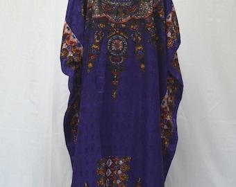 Vintage Royal Purple Bohemian Dashiki Inspired Mandala Caftan