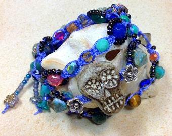 Sugar Skull Wrap Bracelet Day of the Dead Macramé Bohemian Zen Triple Wrap KarmaBeads by Karen