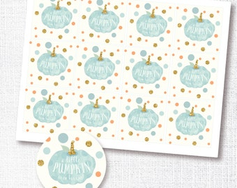 a little pumpkin is on his way - blue pumpkin cupcake toppers - stickers - favor tag -  fall baby boy shower printable instant download DIY