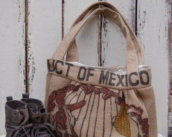 Recycled Burlap Coffee Bag Hobo purse. Recycled Coffee bag purse. Coffee purse .Burlap Hobo Market Bag