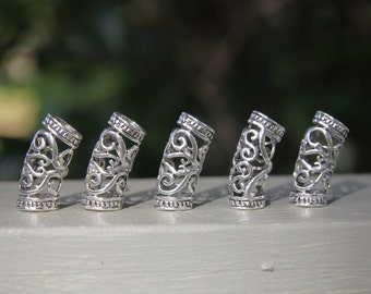 5 Large Hole Tibetan Silver Hollow DREADLOCK BEADS 6.5mm Hole DREAD Hair Beads