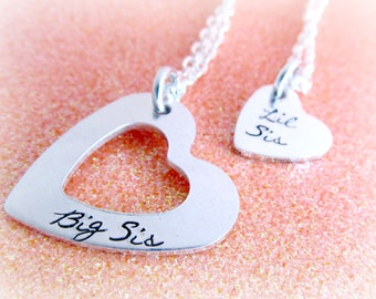 Sister Jewelry Set - Big Sis Little Sis Necklaces - Hand Stamped Necklace Set for Sisters - Sister Necklaces