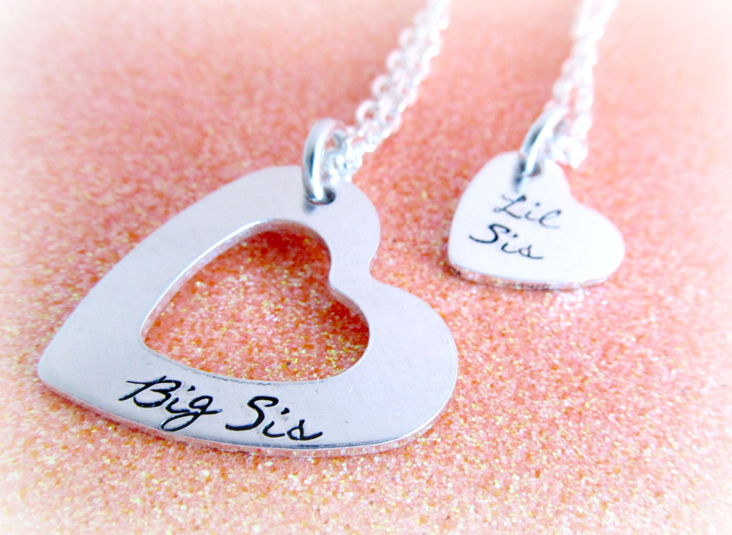 little sis Sister Jewelry Set - Big Sis Little Sis Necklaces - Hand Stamped Necklace  Set for Sisters - Sister Necklaces