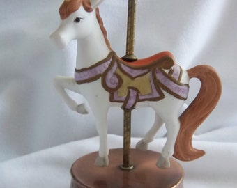 Sweet Porcelain Unicorn Music Box on Copper Base - Spinning Motion - Plays the Song Camelot - Vintage Home Collectibles Decor