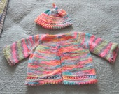 Baby girl multi colored picot edged cardigan and matching hat