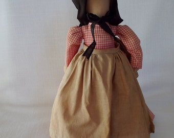 Overly-Raker Female Pilgrim Doll Handmade Stuffed Cloth Doll