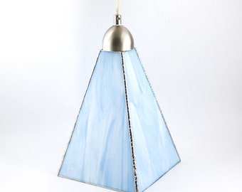 Hanging Lamp, Kitchen Island Light, Stained Glass Pendant Lighting, Blue Glass Ceiling Fixture, Unique Home Lighting