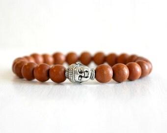 Mens Buddha Bracelet Guy Gift Bohemian Yoga Jewelry Wood Beaded Mala Bracelet