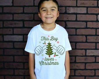 This Boy loves Christmas Baby Bodysuit and Youth T Shirts
