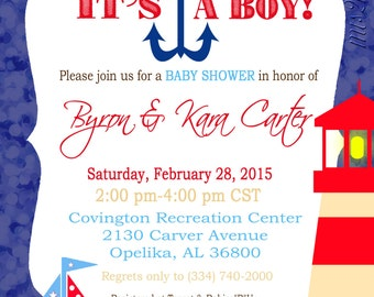 Ahoy it's a Boy Invitation-Ahoy its a Boy Baby Shower Invitation-Printable Nautical Anchor Invite-Ahoy Invite Print at Home Glitter Blue