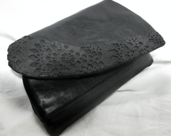 Black Leather Clutch, Hand Made Laser Cut Leather Bag, Black Evening Clutch, Leather & Lace Clutch, Handbags  - Handmade by iDesign For You