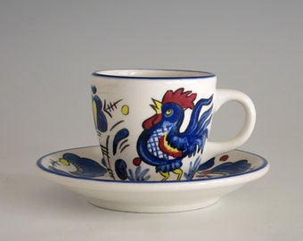 Vintage Buffalo China Olive Garden Espresso or Demitasse Cup and Saucer - Collectible Restaurant Ware - Rooster Design Cup & Saucer - 1980s
