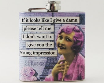 Pink Flask, 6 oz Stainless Steel, Funny Gift, Flask for Woman Gift, Friend Gift, Stocking Stuffer, Whiskey Flask, Sarcastic, Secret Santa F9