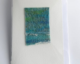 Handmade textile card, abstract seascape, greetings card, blank card