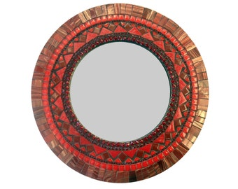 Red Wall Mirror, Round Mosaic Mirror, Mixed Media - SALE