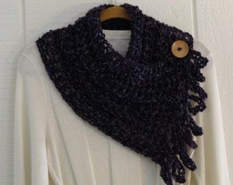 Crochet Button Fringe Scarf Dark Purple Wood Button Neckwarmer Scarflette Cowl
