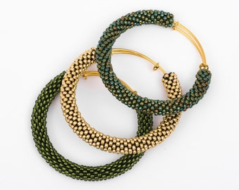 Green Adjustable Bangles/Brass Bangle Bracelets/Green Shades/Bangle Bracelets Set/Beaded Accessories/Crocheted bracelets/Bangles Tris