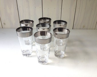 Vintage MCM Silver Rimmed Tall Glasses. Mad Men Style Glass Tumblers.